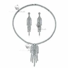 18k white gold made with SWAROVSKI crystal earrings necklace party tassel set