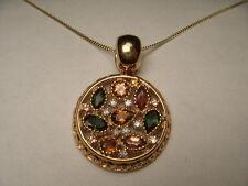 Rare Estate 18K Pink Rose Gold Tourmaline Diamond Citrine Designer Pendant Slide