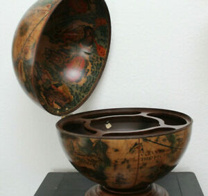 Hausbar Minibar Globusbar Tischbar Ø 42 x 50 cm Eukalyptusholz Globus  Italy