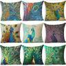 """18"""" Peacock Feather Cotton Linen Throw Pillow Case Sofa Cushion Cover Home Decor"""