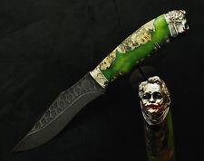 JOKER FACE UNIQUE DAMASCUS STEEL 500 LAYER CUSTOM HANDMADE KNIFE HYBRID WOOD