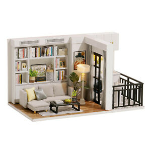 DIY Miniature Dollhouse Kit Miniature House Kit 3D Wooden House Room Crafted