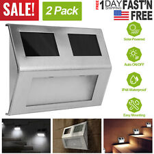 2pc Solar LED Wall Lamp Stair Step Outdoor Waterproof Security Light Auto On/Off