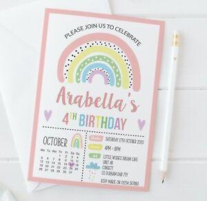 10 Personalised Rainbow Birthday Party Invitations • Girl Rainbow Party Invites