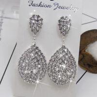 Chic Water Drop Rhinestone Crystal Drop Dangle Chandelier Stud Earrings Jian
