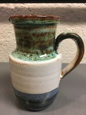 Mid Century Modern French Pottery Ceramic Striped Pitcher by La Roue Vallauris