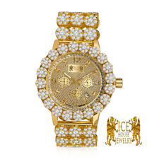 Genuine Diamond Roman Stainless Steel Yellow Gold Ice House Custom Watch W/Date
