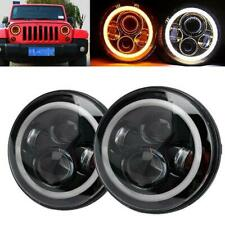 Pair 7'' LED Round Headlight DRL Hi/Lo Beams For Jeep Wrangler CJ JK TJ Harley