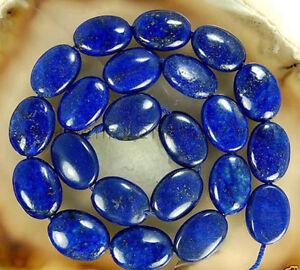 "13x18mm Natural Egyptian Blue Lapis Lazuli Flat Oval Gems Loose Beads 15"" AAA"