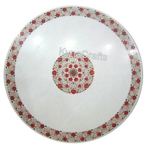 Red Stone Inlay Work Dining Table Top White Round Marble Meeting Table 48 Inches