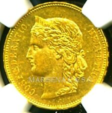 SWITZERLAND 1894 B GOLD COIN 20 FRANCS * NGC CERTIFIED GENUINE AU 58 * LUSTROUS