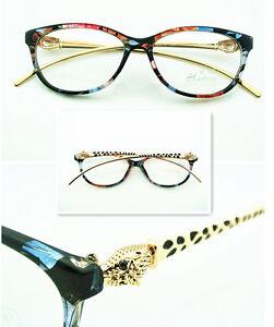 Women Eyeglass Frame Gold Fashion Glasses Eyewear Clear Lens Rx able
