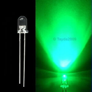 15 x LED 3mm Green Water Clear Super Bright - FREE SHIPPING