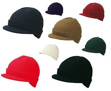 MB RIBBED PEAKED BEANIE HAT - 8 COLOURS WARM BEANY WINTER CAP - FAST DISPATCH
