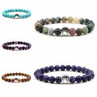 Fashion Cute Dog Paw Chakra Healing 8MM Natural Stone Stretch Bracelets Gift