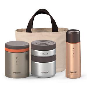 KA Rafale Gold Metal Thermal Bento Lunch Box Bottle Set Insulated Storage Bag