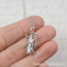 Silver Wizard Charm Necklace - Fantasy Magic Sorcerer Pendant - New
