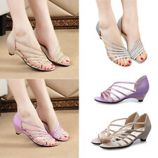 Women Stylish Hollow Up Low Heel Sandals Shoes Low Wedge Casual Strappy Shoes