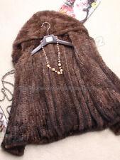 100% Real Knitted Mink Fur Coat Outwear Jacket Hoody Wearcoat Spring Zip Womens