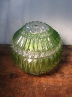 VINTAGE LARGE DIAMOND CUT GLASS CRYSTAL LIGHT GLOBE GREEN LIGHT SHADE