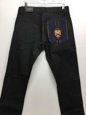 NWT Ralph Lauren Rugby Men Black Slim Fit Button Fly Jeans W31 L32