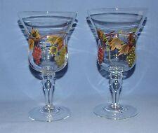 "Vintage Hand Painted Wine/Parfait Glasses - 8"" Tall - Grapes & Leaves - Set of 2"