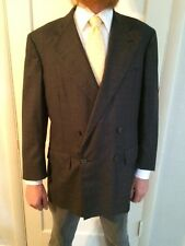 POLO RALPH LAUREN Gray plaid double breasted Peak Lapel Wool jacket 41S blazer
