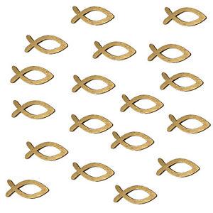 18 Holz Fische Streuartikel Taufe Kommunion Streudeko Tischdeko Verzierung Gold