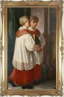 "Hand painted Old Master-Art Antique Oil Painting Portrait boy on canvas 24""x40"""