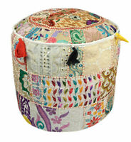 "22"" Decorative Pouffe Floor Pillow Cover Round Patchwork Embroidered Pouf Ottoma"