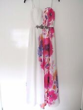NWT Jane Norman stunning White Poppy Embelished Maxi Dress, party Size 6 RRP£80