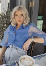 Zara Blue Organza Puff Sleeve Blouse Sheer Top Shirt Size Xs 4 6