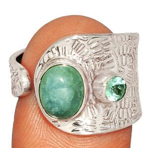 Aquamarine - Brazil & Blue Topaz 925 Sterling Silver Ring s.8 BR1038