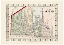 Old Vintage Map of Detroit Mitchell 1874