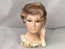 Vintage Relpo Lady Head Vase 1964  6 inches 5543A Samson Import Co Japan