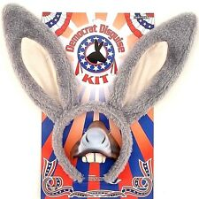 DEMOCRAT DONKEY DISGUISE KIT Horse Rubber Nose Cloth Big Ears Hat Mask Adult Ass