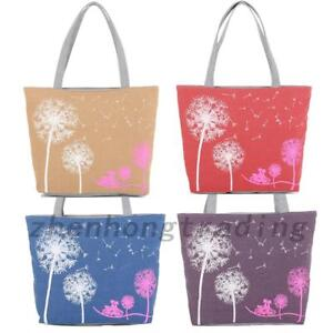 Large Bags Canvas Dandelion Tote Zipper School Bays Lady Shoulder Handbag Bag