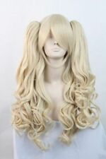 Hot Lolita Long Blonde Halloween Cosplay Party Curly Full Wig + 2 Ponytails
