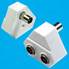 TV Aerial Coaxial Cable Splitter/Uniter RF Female to Male Adaptor 2 Input 1 Out