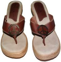 NwOB Sbicca California Handmade Womens 9M Wedge Sandals Shoes Thong Peace Sign