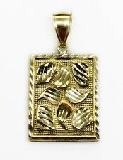 "10K Yellow Gold Diamond Cut Nugget Men Pendant 5.1 Grams 1.10"""