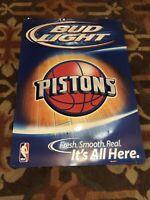 """BUDWEISER BUD LIGHT DETROIT PISTONS NBA 28"""" METAL BEER SIGN"""