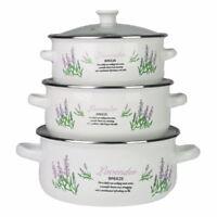 6 Pcs Marmites Émaillé Set Batterie Cuisine Casseroles Soupe Lavande De Blanc