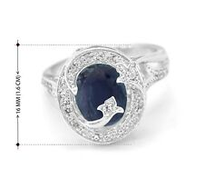 925 Sterling Silver Ring Natural Blue Sapphire Oval Cocktail Size 5-11