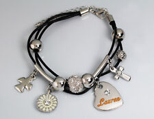 Genuine Braided Leather Charm Bracelet With Name - LAUREN - Gifts for her