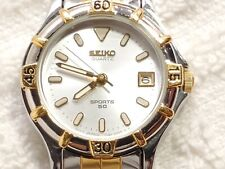 Vintage Seiko Sports 50 Date Quartz Watch Two Tone Silver Dial Luminous Hands