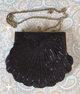 Pretty Vintage Small Black Beaded Shoulder Handbag. Chain Strap. Super Condition