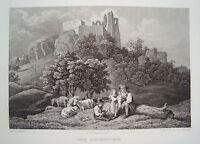 Burg Altenstein Maroldsweisach Haßberge Franken Bayern alter Stahlstich 1844