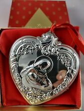 1993 Wallace Christmas Heart Sterling Silver Ornament, New, Mint w/box,bag