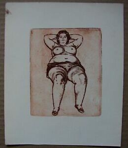 Russian Ukrainian Soviet etching realism nude female figure woman portrait